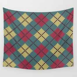 Faux Retro Argyle Knit Wall Tapestry
