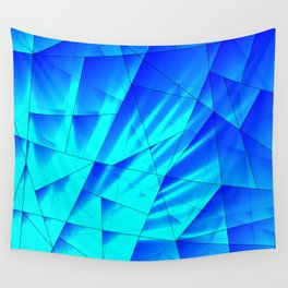 Bright sunshine on celestial and blue triangles of irregular shape. Wall Tapestry