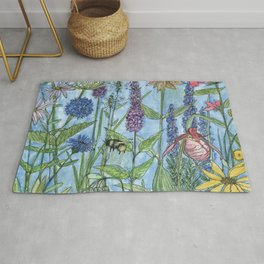 Watercolor Garden Flower Botanical Wildflowers Lady Slipper Orchid Rug