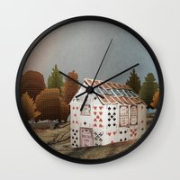 fitzgerald Wall Clocks featuring Forget about your house of cards by Emma Fitzgerald