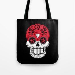 Sugar Skull with Roses and Flag of Indonesia Tote Bag
