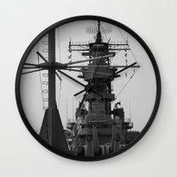 wisconsin Wall Clocks featuring USS Wisconsin by Kelly Stiles