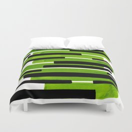 Lime Green Primitive Stripes Mid Century Modern Minimalist Watercolor Gouache Painting Colorful Stri Duvet Cover