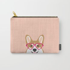 Corgi Love - Valentines heart shaped glasses on funny dog for dog lovers pet gifts customizable dog  Carry-All Pouch