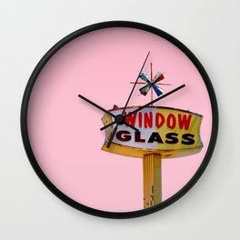 Atomic Pink Starburst - Vintage Googie-Style Sign with Pink Background Wall Clock