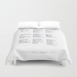 David Bowie Discography - Music in Colour Code - Part 2 // 1976 - 1989 Duvet Cover