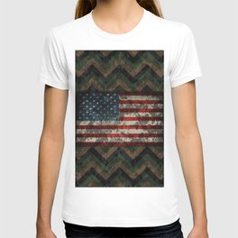 Green and Brown Military Digital Camo Pattern with American Flag T-shirt