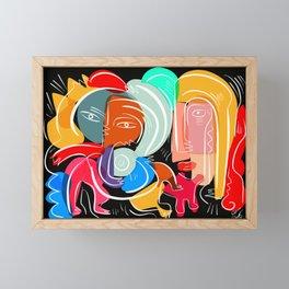 Love your family expressionist cubist street art Framed Mini Art Print