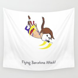Flying Barcelona Attack Wall Tapestry