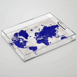 """Navy blue and grey detailed world map, """"Delaney"""" Acrylic Tray"""