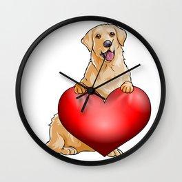 Valentines Golden Retreiver Wall Clock