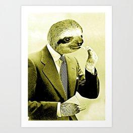 Gentleman Sloth lighting a cigarette Art Print