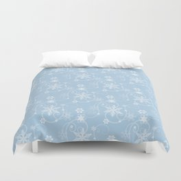 Snowflakes (white & light blue) Duvet Cover
