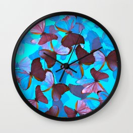 Shiny Blue And Pink Butterflies On A Turquoise Background #decor #society6 #pivivikstrm Wall Clock