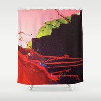 chihiro Shower Curtains featuring abstract painting red splash  by Chihiro Streetcat