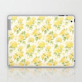 Modern  sunshine yellow green hortensia flowers Laptop & iPad Skin