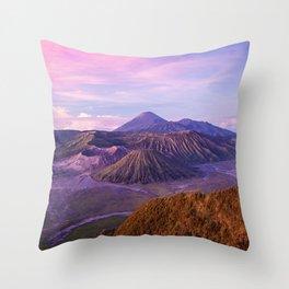 indonesia island java volcano bromo hills altitude blue pink sky clouds Throw Pillow