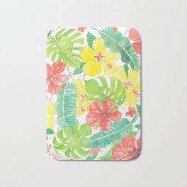 Tropical garden, hibisus, plumeria and palm leaves Bath Mat