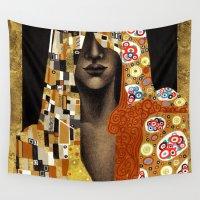 klimt Wall Tapestries featuring Klimt Me by Estúdio Marte