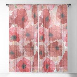 Pressed Poppy Blossom Pattern Sheer Curtain