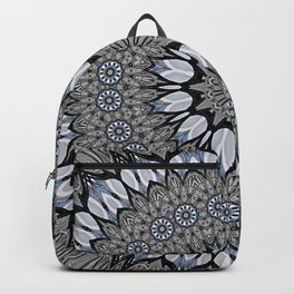 Greyscale abstract flowers in mandala Backpack