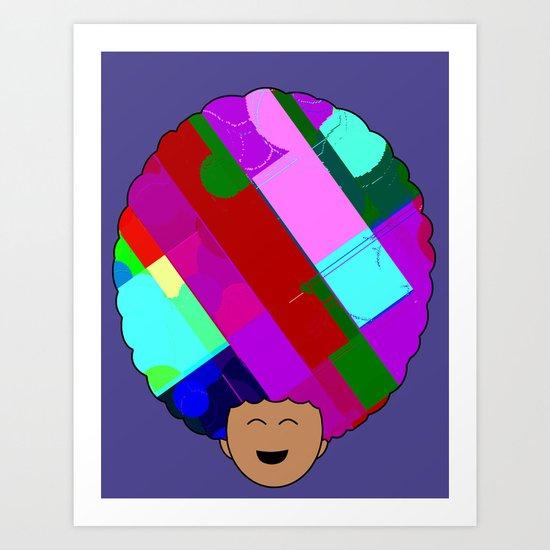 glitch afro Art Print