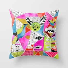 Tulips and Triangles Throw Pillow
