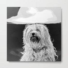 hairy havanese dog vector art black white Metal Print