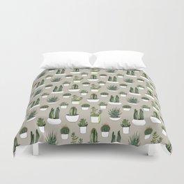 Watercolour cacti & succulents - Beige Duvet Cover
