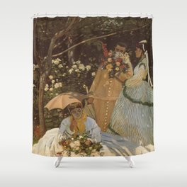 Monet- Women in the Garden, nature,Claude Monet,impressionist,post-impressionism,painting Shower Curtain