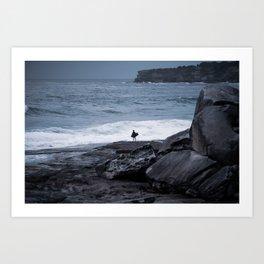 Surfer waiting for entry into the surf at Tamarama Beach. Sydney. Australia. Art Print
