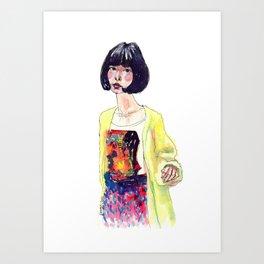Fashion Illustration . Oriental Girl Art Print