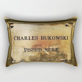 'Charles Bukowski Pissed Here' Framed Marker at Cole's Pacific Saloon, Los Angeles Rectangular Pillow