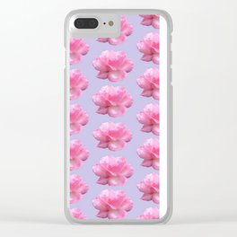Pink Rose Pattern on Blue Clear iPhone Case