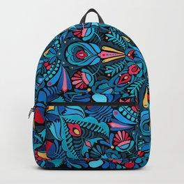 Pink, light blue floral mandala on black Backpack