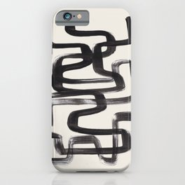 Mid Century Modern Minimalist Abstract Art Brush Strokes Black & White Ink Art Pipe Maze iPhone Case