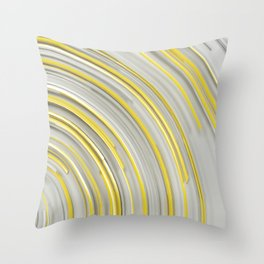 Glowing yellow concentric spirals on white Throw Pillow