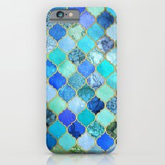Cobalt Blue, Aqua & Gold Decorative Moroccan Tile Pattern iPhone 6s Slim Case