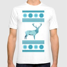 Winter Deer White Mens Fitted Tee SMALL