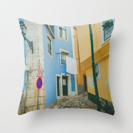 Colorful Blue and Yellow Wall in Lisboa Throw Pillow