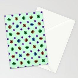 Eyeball Pattern on Green Stationery Cards