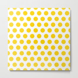 Yellow and White Polka Dots 771 Metal Print