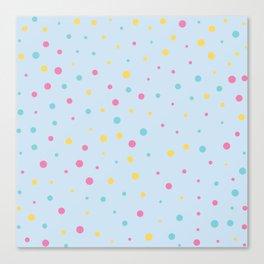 Multicolour Polka Dots on Blue Background Canvas Print