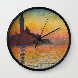 Claude Monet San Giorgio Maggiore at Dusk (Venice) Wall Clock
