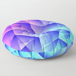 Bright fragments of crystals on irregularly shaped pink and blue triangles. Floor Pillow