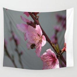 Honey Bee Feeding on Peach Tree Blossom Wall Tapestry