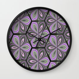 retro flowers Wall Clock