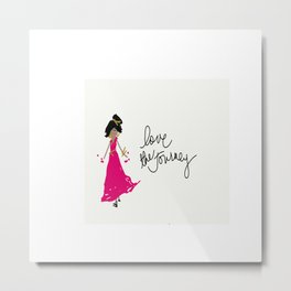 Love The Journey Girl in Pink Metal Print
