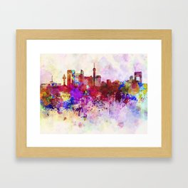 Jeddah skyline in watercolor background Framed Art Print