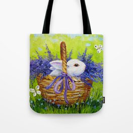 Rabbit in lavender Tote Bag